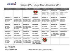 Sodexo BVC Holiday Hours December 2014