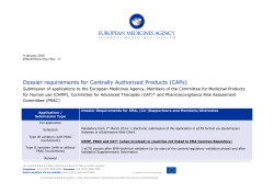 Dossier requirements for Centrally Authorised Products