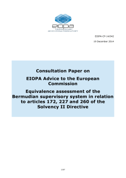 Consultation Paper on EIOPA Advice to the European