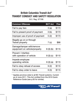 BC Transit Act Offenses and Fines