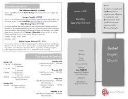 Bulletin 1-4-15 - Bethel Church Irvine