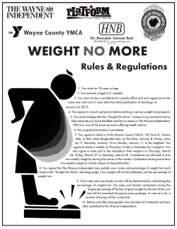WEIGHT NO MORE - Wayne County YMCA
