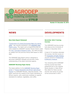 AGRODEP Newsletter No. 33 December 2014