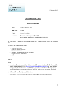 Operational Note regarding a Directions Hearing on 20 January 2015