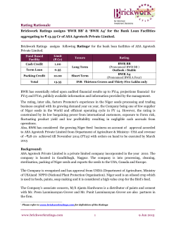 ASA Agrotech Pvt. Ltd. : Long Term Rating BWR
