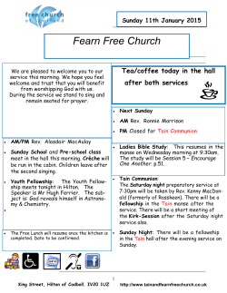 Weekly Bulletin (PDF) - Tain and Fearn Free Church