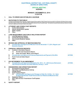 Board Meeting Agenda - December 22, 2014