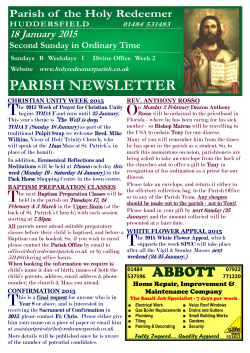 BULLETIN 11 January 2015.pub - Parish of the Holy Redeemer