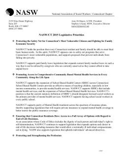 2015 Legislative Agenda. - NASW-CT