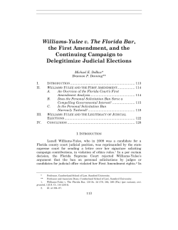Williams-Yulee v. The Florida Bar, the First Amendment, and the