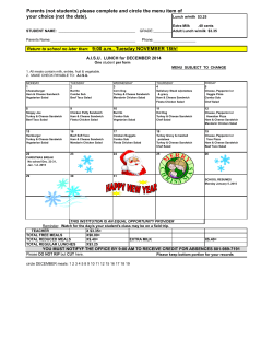 December Lunch Menu AISU 2014 DEC. 2014