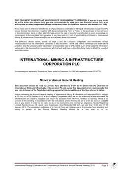 AGM Notice - International Mining and Infrastructure Corporation plc