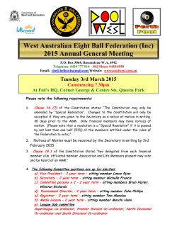 2015 AGM - West Australian Eightball Federation
