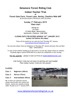 Indoor Hunter Trial Schedule - Delamere Forest Riding Club