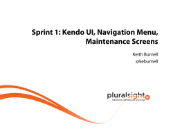 Kendo UI, Navigation Menu, Maintenance Screens