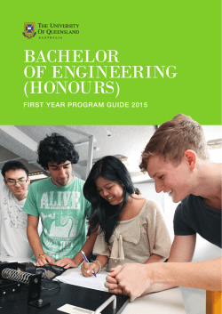 First Year Program Guide - The Faculty of Engineering, Architecture