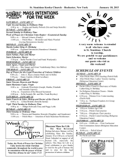 SCHEDULE OF EVENTS - St. Stanislaus Kostka Church