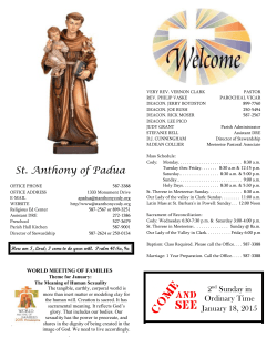 Weekly Bulletin - Church of St. Anthony of Padua