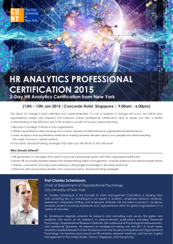HR ANALYTICS PROFESSIONAL CERTIFICATION 2015