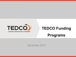 the TEDCO Funding Presentation