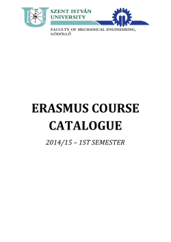 ERASMUS COURSE CATALOGUE