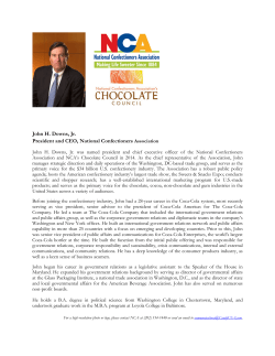 John H. Downs, Jr. President and CEO, National Confectioners