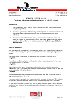 SERVICE LETTER 920190 Feed rate adjustment after