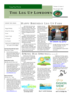 Leg Up Farm Newsletter MarchApril 2014