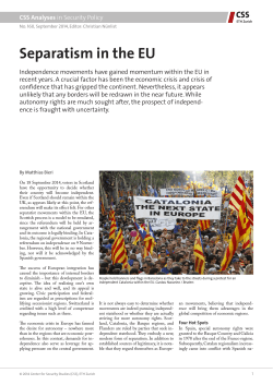 Separatism in the EU - Center for Security Studies (CSS)