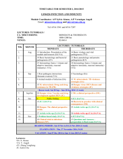 TIMETABLE FOR SEMESTER I, 2014/2015