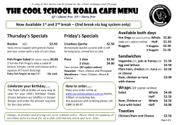 Cool School Koala Cafe Menu