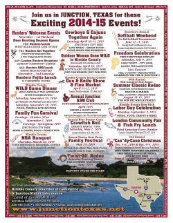Y Y Exciting 2014-15 Events! - Junction Texas Chamber of Commerce