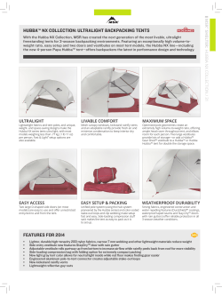 hubba™ nx collection: ultralight backpacking tents features for 2014