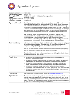 Vacature nummer 14/15-013 Functienaam (FUWA) Docent LO