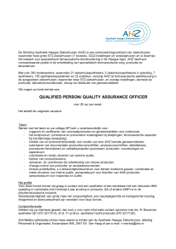 QUALIFIED PERSON/ QUALITY ASSURANCE OFFICER