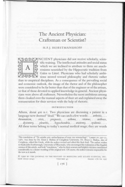 The Ancient Physician: Craftsman or Scientist?