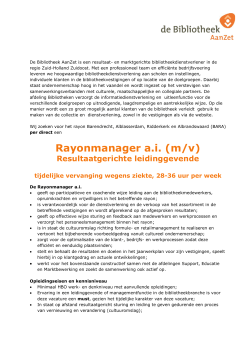 Rayonmanager a.i. (m/v)