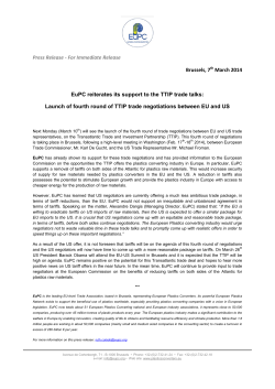 Press Release - For Immediate Release Brussels, 7th March 2014