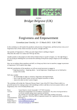 Bridget Belgrave (UK) Forgiveness and