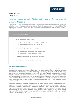 Interim Management Statement: Kerry Group Annual General Meeting