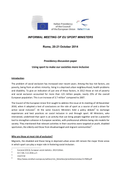 INFORMAL MEETING OF EU SPORT MINISTERS Rome, 20‐21