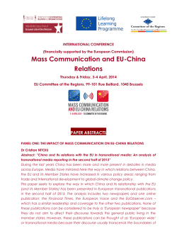 Mass Communication and EU-China Relations