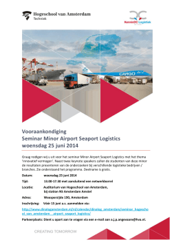 Vooraankondiging Seminar Minor Airport Seaport Logistics