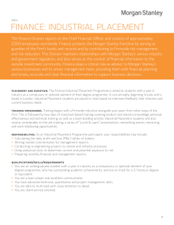 Finance: inDUSTRiaL PLaceMenT