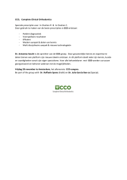 CCO, Complete Clinical Orthodontics Speciale prescriptie voor In
