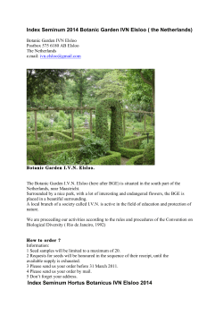 Index Seminum 2014 Botanic Garden IVN Elsloo ( the Netherlands