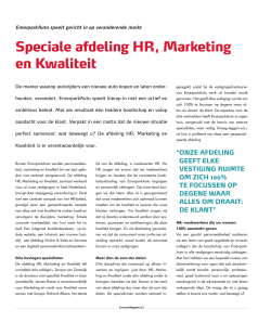 Speciale afdeling HR, Marketing en Kwaliteit