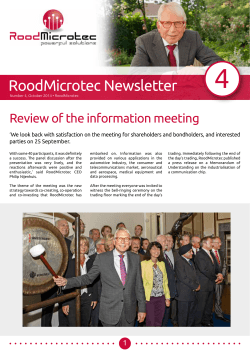 RoodMicrotec Newsletter