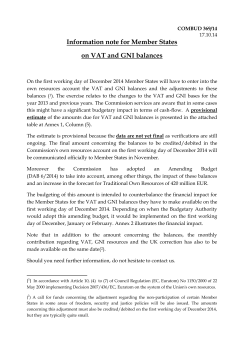 Information note for Member States on VAT and