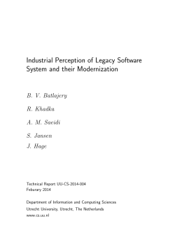 Industrial Perception of Legacy Software System